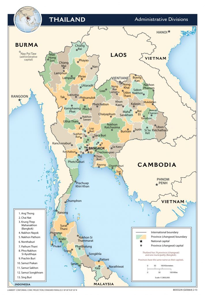 large scale administrative divisions map of thailand 2013 711x1030 - Tentang Thailand